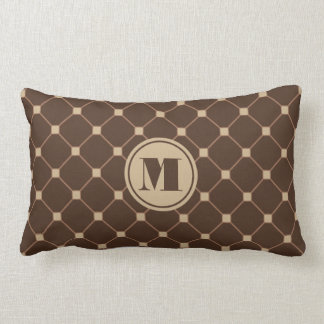 Reversible Brown and Tan Diamond Throw Pillow