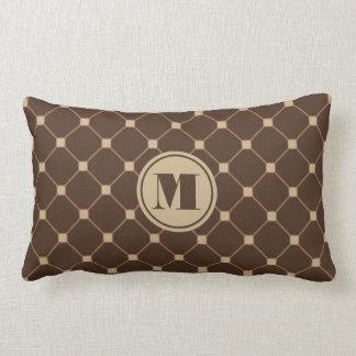 Reversible Brown and Tan Diamond Throw Pillow
