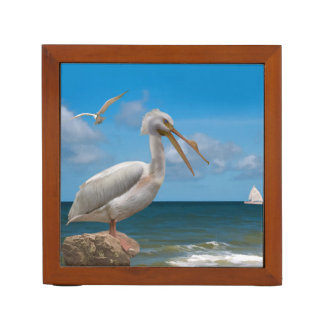 Reversible Brown and White Pelicans Pencil/Pen Holder