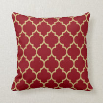 Reversible Burgundy & Gold Tan Quatrefoil Pattern Throw Pillow