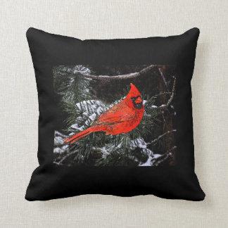Reversible cardinal del navidad (negro) cojín