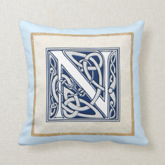 Reversible Celtic N Initial Throw Pillow