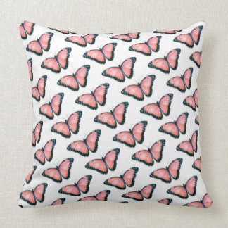 Reversible Coral and Tiffany Blue Butterfly Pillow
