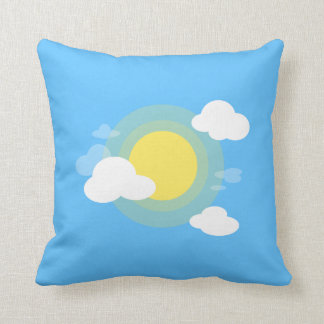 Reversible Day and Night Illustration Throw Pillow