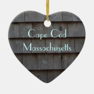 Reversible de las tablas de Cape Cod modificado Adorno Navideño De Cerámica En Forma De Corazón