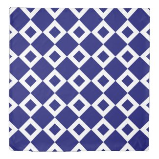 Reversible Deep Blue and White Diamond Patterns