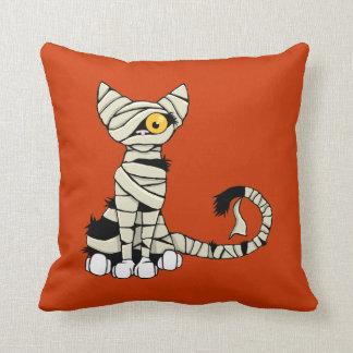 Reversible del gato de la momia de Halloween Cojín