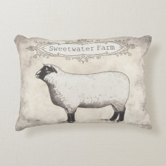 Reversible Farmhouse sheep pillow in neutrals