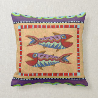 Reversible Folk Art Bird and Fish Design Pillow