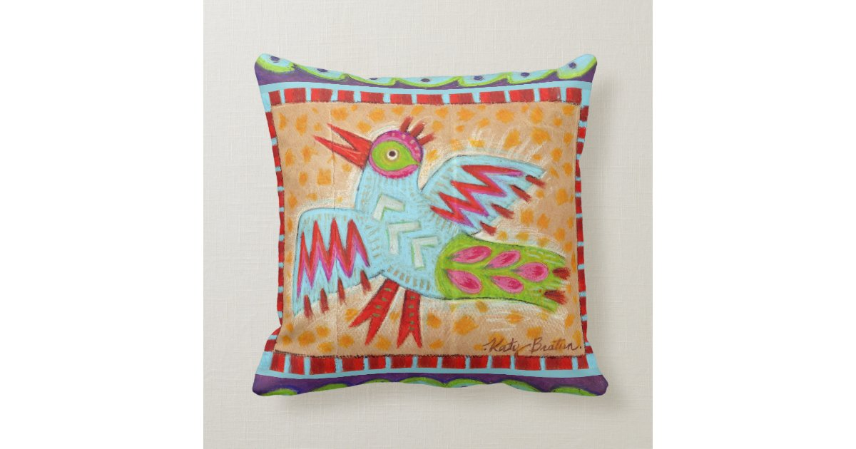 Reversible Folk Art Bird and Fish Design Throw Pillow Zazzle