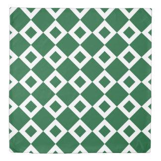 Reversible Green and White Diamond Patterns Duvet Cover