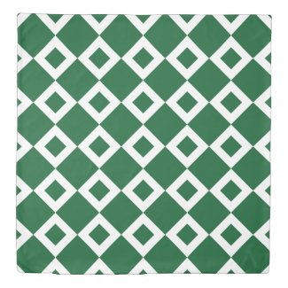 Reversible Green and White Diamond Patterns Duvet Cover