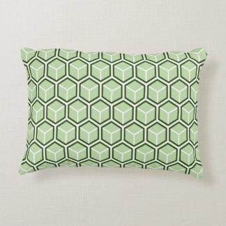 Reversible Green Honeycomb Accent Pillow