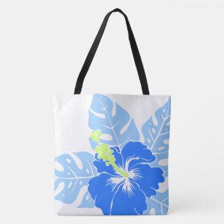 Reversible hawaiano BeachBag del hibisco de la Bolsa De Tela