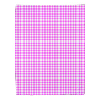 Reversible Hot Pink/Baby Blue Gingham Patterns Duvet Cover