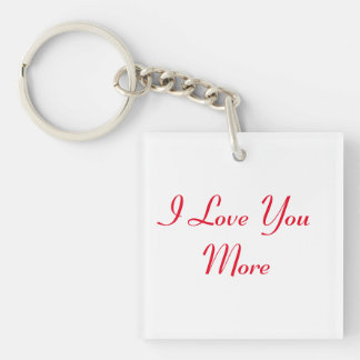 Reversible I Love You More Double-Sided Square Acrylic Keychain