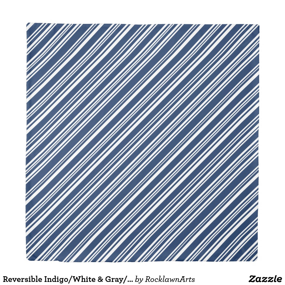 Reversible Indigo/White & Gray/Black/White Stripes Duvet Cover