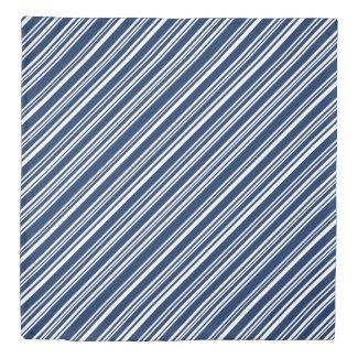 Reversible Indigo/White & Gray/Black/White Stripes Duvet Cover