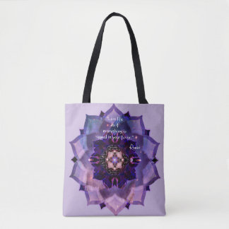 Reversible Inspirational Universe Purple Mandala Tote Bag