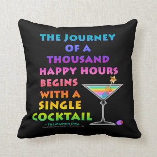 REVERSIBLE Journey of a Thousand Happy Hours - Mar Throw Pillow