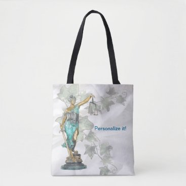 Lawyer Themed Reversible Lady Justice and 3D Veritas on Blue Tote Bag