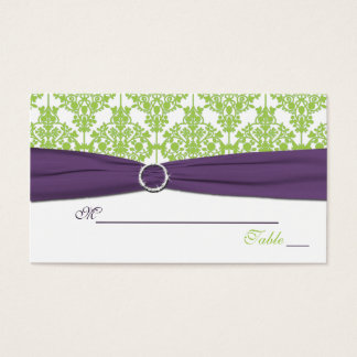 Reversible Lime and Purple Damask Placecards Business Card