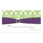 Reversible Lime and Purple Damask Placecards Business Card Templates