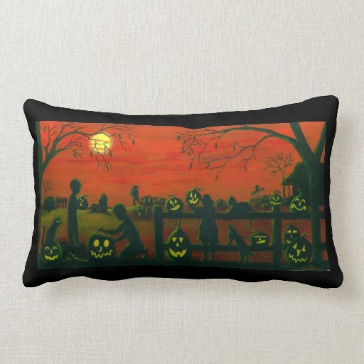 REVERSIBLE lumbar de la almohada de Halloween