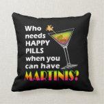 REVERSIBLE Martinis vs. Happy Pills American MoJo  Pillow