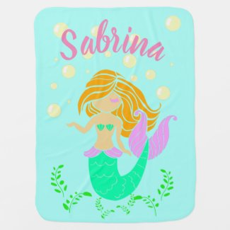 Reversible Mermaid Blanket, Girl's Room Decor Baby Blanket