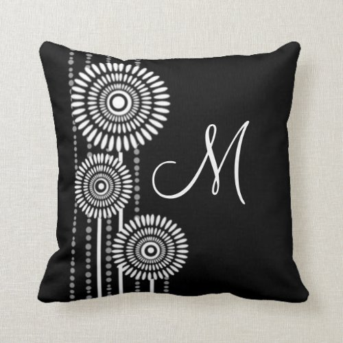 Reversible Modern Black And White Monogram Throw Pillow