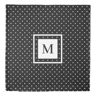 Reversible Modern Monogram Black White Polka Dots Duvet Cover