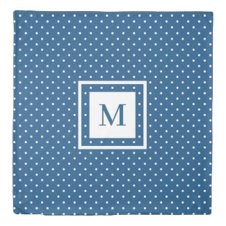 Reversible Modern Monogram Navy White Polka Dots Duvet Cover