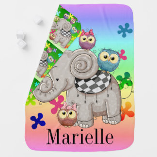 Reversible Monogram Cute Elephant Baby Blanket