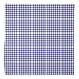 Reversible Navy/Light Blue Gingham Patterns Duvet Cover