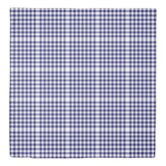 Reversible Navy/Light Blue Gingham Patterns Duvet Cover