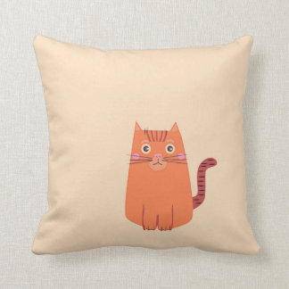 Reversible One or Many Orange Cartoon Cats Throw Pillow