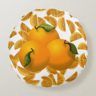 Reversible Oranges and Slices Round Accent Pillow
