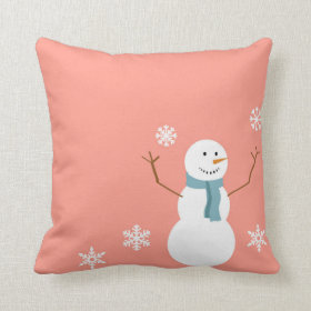 Reversible Peach Snowman Christmas Throw Pillow