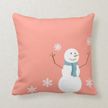 Christmas Themed Reversible Peach Snowman Christmas Throw Pillow