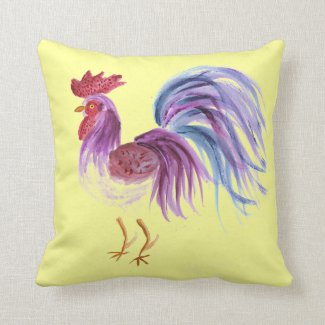 Reversible Pillow - Pastel Rooster/Comic Rooster