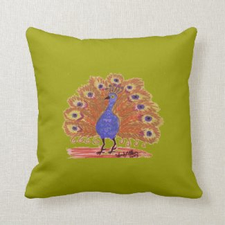 Reversible Pillow - Peacock - Green/Brown