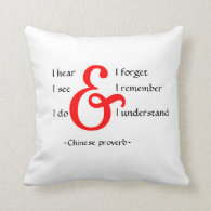 Reversible Pillow With Chinese Proverb|Black White