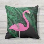 Reversible Pink and Black Flamingo Pillow 1