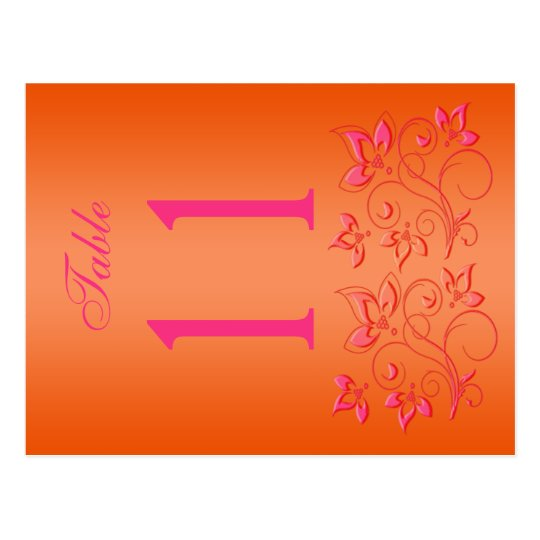 Reversible Pink and Orange Floral Table Number Postcard