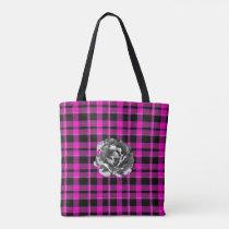 Reversible Pink/Gray Plaid Vibrant Rose Tote Bag