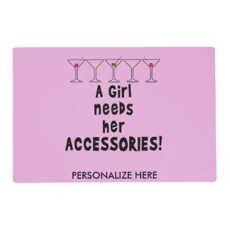 REVERSIBLE PLACEMAT - A GIRL NEEDS HER ACCESSORIES LAMINATED PLACEMAT