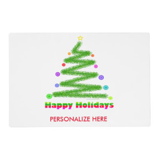 REVERSIBLE PLACEMAT HAPPY HOLIDAYS CHRISTMAS TREE