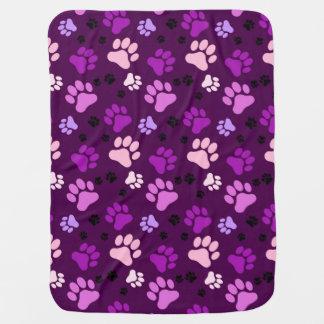 Reversible Purple Paw Print Dog Crate Blanket