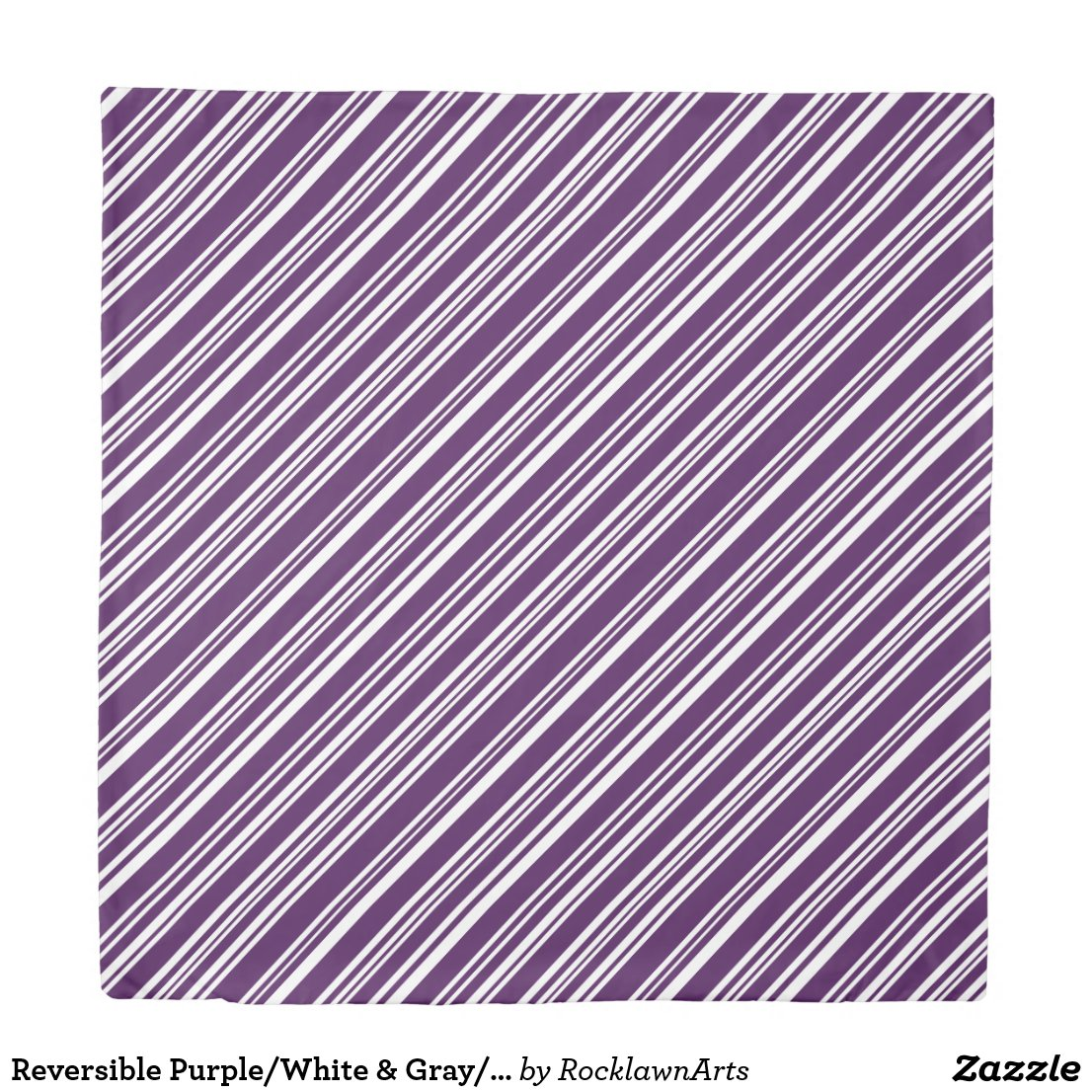 Reversible Purple/White & Gray/Black/White Stripes Duvet Cover